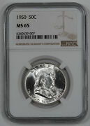 1950 Franklin Half Dollar 50c Ngc Certified Ms 65 Mint State Uncirculated 007