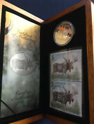 2004 Canada The Majestic Moose 5 Silver Proof Coin And Stamp Set In Case E5425