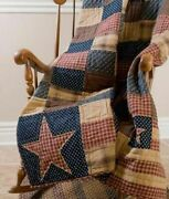 Patriotic Patch 50x60 Quilt Throw Vhc Cotton Tea Dyed Red Primitive Blanket