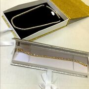 Stainless Steel 1 Row Tennis Chain And Bracelet Set Yg Finish