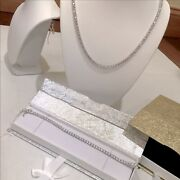 Stainless Steel 1 Row Tennis Chain And Bracelete Set
