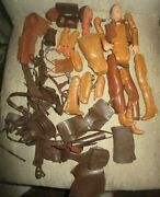 Marx Johnny West And Geronimo Action Figures For Parts With Accessories Vintage