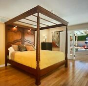 Cal King Bed Frame 4 Poster Bed Traditional Mahogany 4 Post Bed