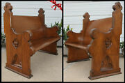 Antique Fancy Carved Quarter And Straight Oak Church Pew Bench Trinity Symbol Old