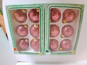12 Christmas By Krebs Dusty Rose Designer Glass Ornaments W/ Crowns 2 Boxes Of 6