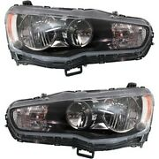 Headlight Set For 2009-2017 Mitsubishi Lancer Left And Right With Bulb 2pc