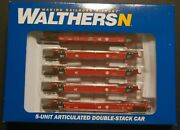 N Scale Walthers 929-8104 5-unit Articulated Double Stack Well Cars Santa Fe.