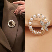 Pearl And Rhinestone Circle Brooches For Women Baroque Butterfly Brooch Pins Cw