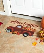 Fall Autumn Harvest Red Truck Rug Mat - Indoor Or Outdoor Home Decor