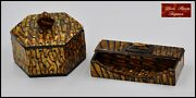 Extremely Rare Vintage Lea Stein Desktop Items Box And Pen Holder Faux Tiger Eye
