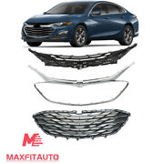 Fits Chevrolet Malibu 2019 2020 Front Upper Grille Lower Grille Chrome 3pcs