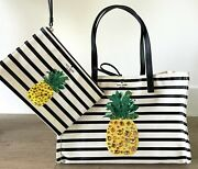 Kate Spade By The Pool Canvas Pineapple Tote And Wristlet Set, Nearly New, Rare
