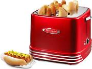 Pop Up 4 Hot Dog And Bun Toaster With Mini Tongs Works Drip Tray Retro Red