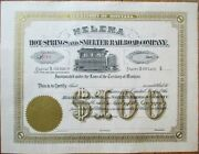 Helena-hot Springs-smelter Railroad 1870 Stock Certificate Territory Montana Mt