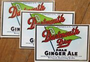 'dartmouth Dry' Ginger Ale 1940s Soda Pop Labels W/college Pennant- Three Pieces