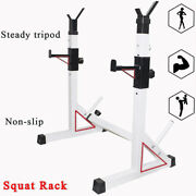 Squat Rack Adjustable Bench Press Fitness Barbell Stand Power Weight Lifting Gym