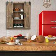 Wall Mounted Storage Cabinet With Sliding Barn Double Doors Farmhouse Vintage