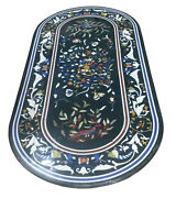 60 X 32 Marble Coffee Table Top Pietra Dura Inlay Handcrafted Work