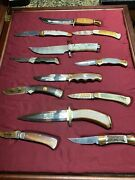 Franklin Mint's Sportsman's Year Hunting And Fishing Knife Collection 1989 Used