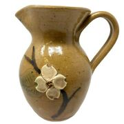Nc Pottery Small 5 Brown Pitcher With 3 Dimensional Dogwood Blossom And Hand Pa