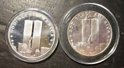 Two - Twin Towers 9/11/2001 Proof 1 Ounce .999 Silver Rounds In Original Cases