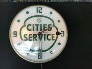 Cities Services Gas Station Clock Lighted Pam Clock Vintage Advertising Sign