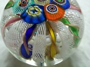 Gorgeuos Murano Millfiori Italy Glass Paperweight Gold Leaf Twisted Ribbons