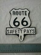 Route 66 Safety Pays License Plate Topper Fob Topper Wall Car Motorcycle Hot Rod