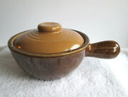 Antique Tan And Brown Stoneware French Onion Soup Bowl With Handle And Lid Usa