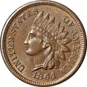 1864 'l' Indian Cent Choice Bu++ Key Date Superb Eye Appeal Strong Strike