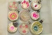 Lot Vtg Antique Mercury Glass Indent Daisies Balls Christmas Ornaments Germany
