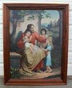 Yankton Sd Old Canvas Oil Painting Jesus Christ And The Little Children Monastery