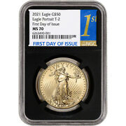 2021 American Gold Eagle Type 2 1 Oz 50 - Ngc Ms70 First Day Issue 1st Black