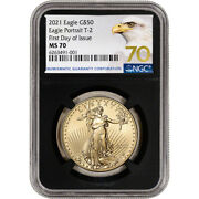 2021 American Gold Eagle Type 2 1 Oz 50 Ngc Ms70 First Day Issue Grade 70 Black