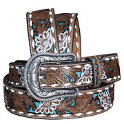 C-08-l Large Nocona Leather Belt Western Overlay Flowers Painted Womens Brown
