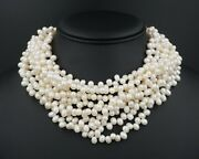 And Co. Paloma Picasso Sterling 8 Strand Pearl Choker Necklace 16 Ns1795