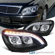 For 98-06 Benz W220 S320 S420 Black Dual Projector Headlight+led Signal Strip