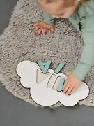 Wooden Toy White Cloud Montessori Game Baby Name Puzzle Personalized Gift