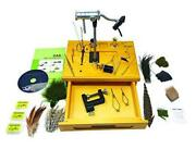 Wooden Fly Tying Station With Rotary Vise Fly Tying Tools And Fly Tying