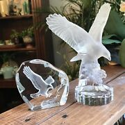 Goebel And Nybro Eagle In Flight Paperweight Crystal Art Glass Figurines