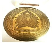 22 Inch Buddha Shakti Temple Gong - Mantra Carved Sound Healing Meditation Gong