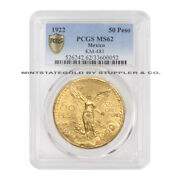 Mexico 1922 50 Peso Pcgs Ms62 Choice Certified Mexican 1.2 Oz Of Gold Coin