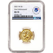 2021 W Us Gold 5 National Law Enforcement Commemorative Bu - Ngc Ms70 Nle Fund