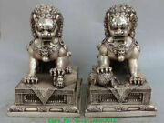 10 Marked Classical Silver Guardian Foo Fu Dog Door Lion Kid Ball Pair Statues