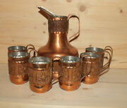 Vintage Hand Made Ornate Copper Set 6 Cups Mugs And Pitcher