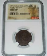 French Colonies 2 Sol Stampee 1779 West Indies Au Details Colonial Graded Coin