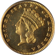 1884 Indian Princess Gold 1 Pcgs Pr66 Proof Hw Bass Jr Collection Strong Strike