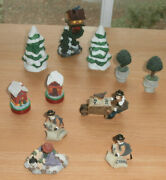 Lot Of 8 Vintage Christmas Village People Houses Trees More