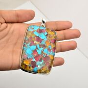 Copper Turquoise Gemstone Jewelry 925 Sterling Silver Pendant For Women Kb15519