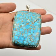 Copper Turquoise Gemstone Pendant 925 Sterling Silver Jewelry For Women Kb15491